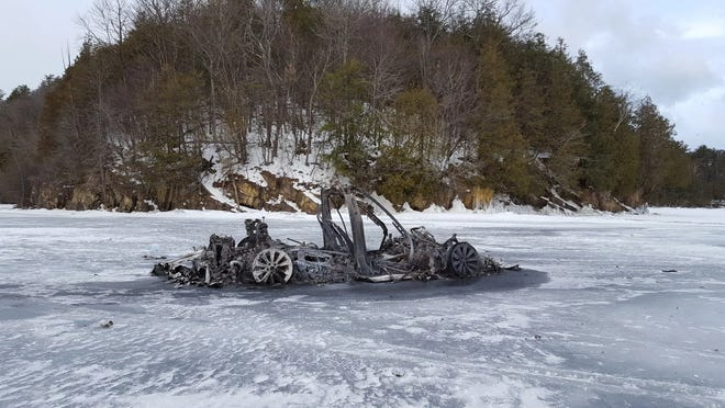 The remnants of the Tesla Model X that was burning on Lake Champlain Feb. 24 are pictured. Feb. 25, 2019.