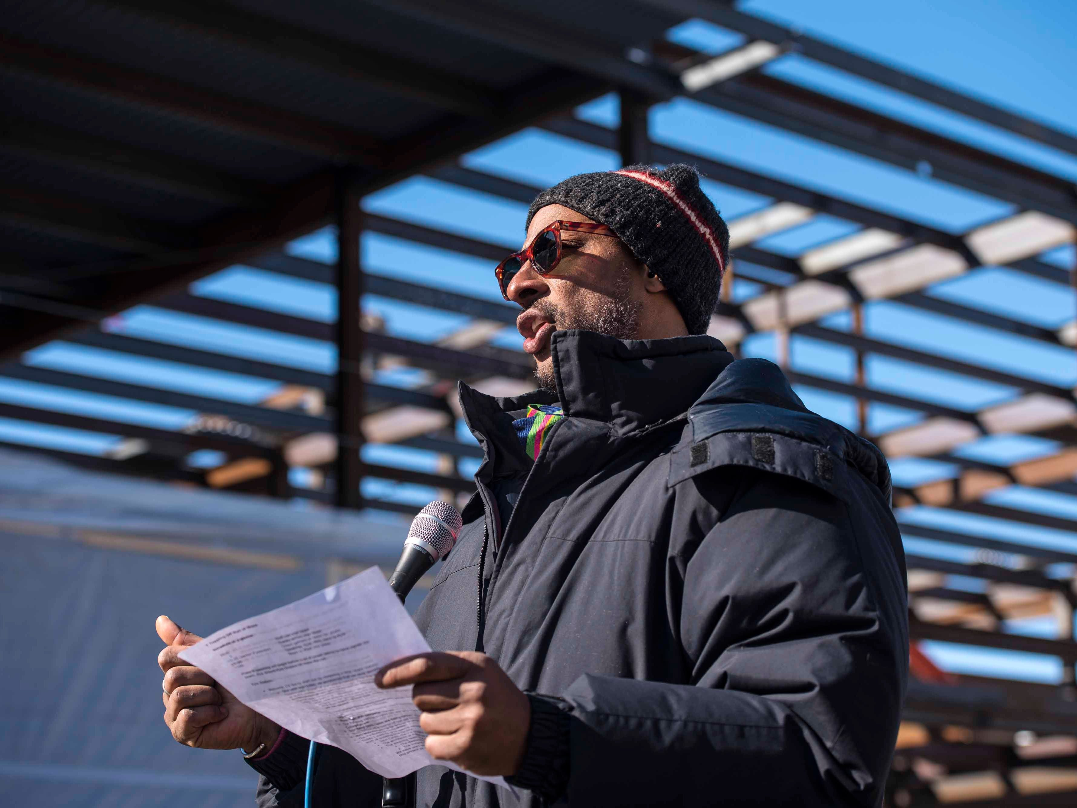 """YMCA CEO and President Kyle Dodson speaks at a """"topping off"""" ceremony for the new Burlington YMCA building in Burlington on Thursday, Feb. 28, 2019."""