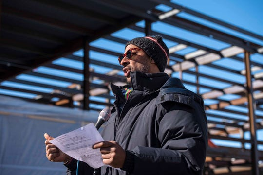 "YMCA CEO and President Kyle Dodson speaks at a ""topping off"" ceremony for the new Burlington YMCA building in Burlington on Thursday, Feb. 28, 2019."