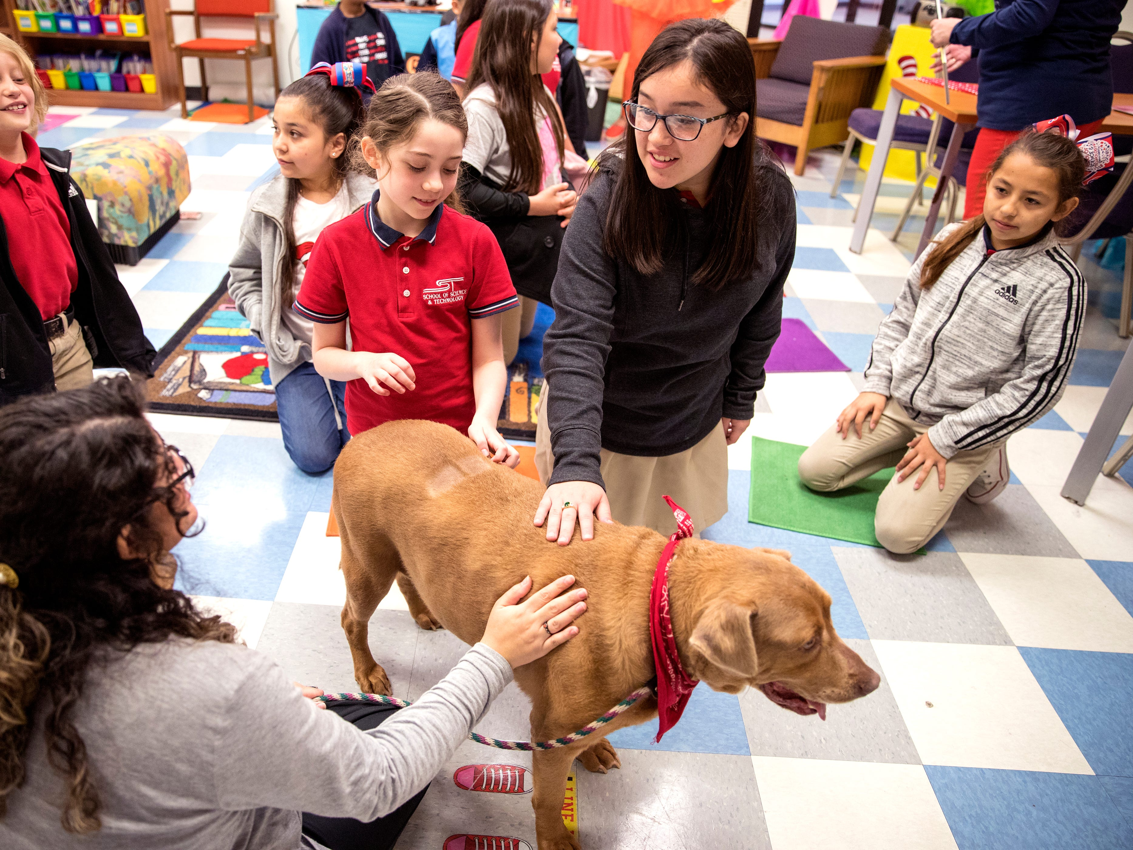 School of Science and Technology students Abigail Potts (left), 8, and Mary Jane Castillo, 11, pet Paige, a dog from the Gulf Coast Humane Society during a Dr. Seuss's Birthday and Read Across America event on Friday, March 1, 2019. Students later read to a Paige, who visited along with Mia Burbage (sitting) from the shelter.