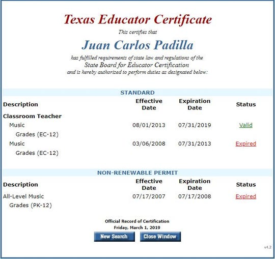 A Texas Education Agency certification shows Juan Carlos Padilla's certification is valid on Friday, March 1, 2019.