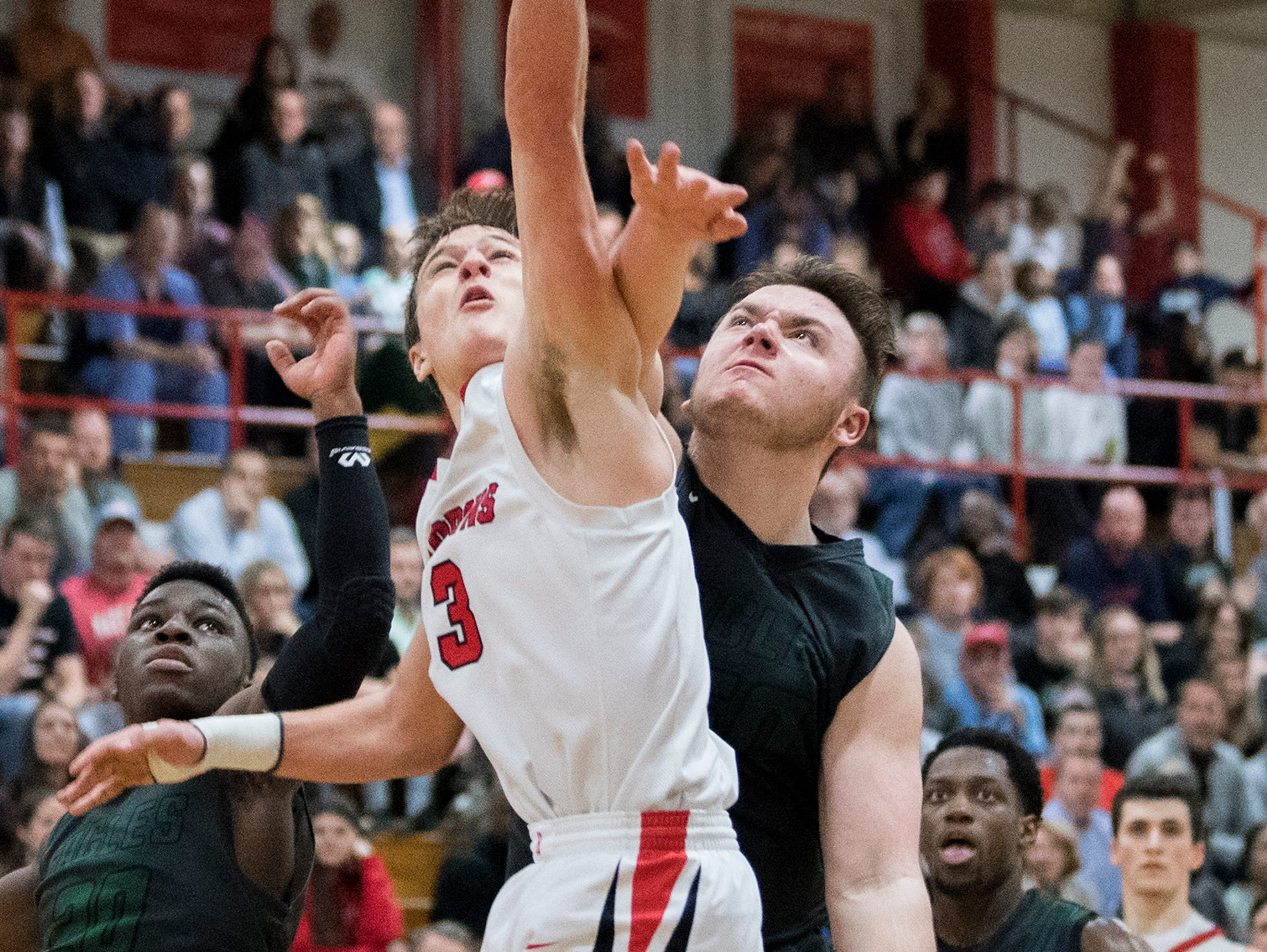 Haddonfield's Mike DePersia (3) attempts a shot against West Deptford Friday, March 1, 2019 at Cherry Hill High School East in Cherry Hill, N.J. Haddonfield won 51-30.