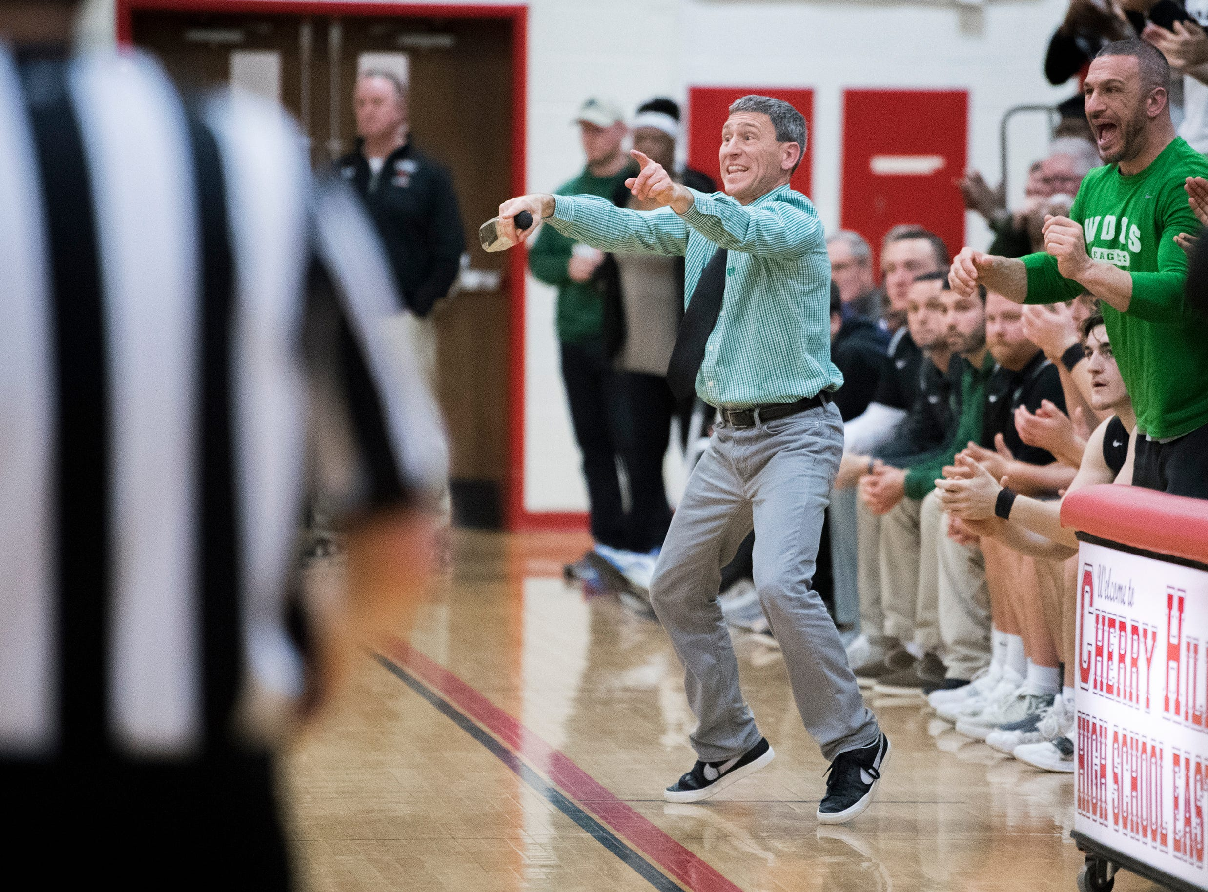West Deptford coach John McKeown reacts on the sideline during a game against Haddonfield Friday, March 1, 2019 at Cherry Hill High School East in Cherry Hill, N.J. Haddonfield won 51-30.