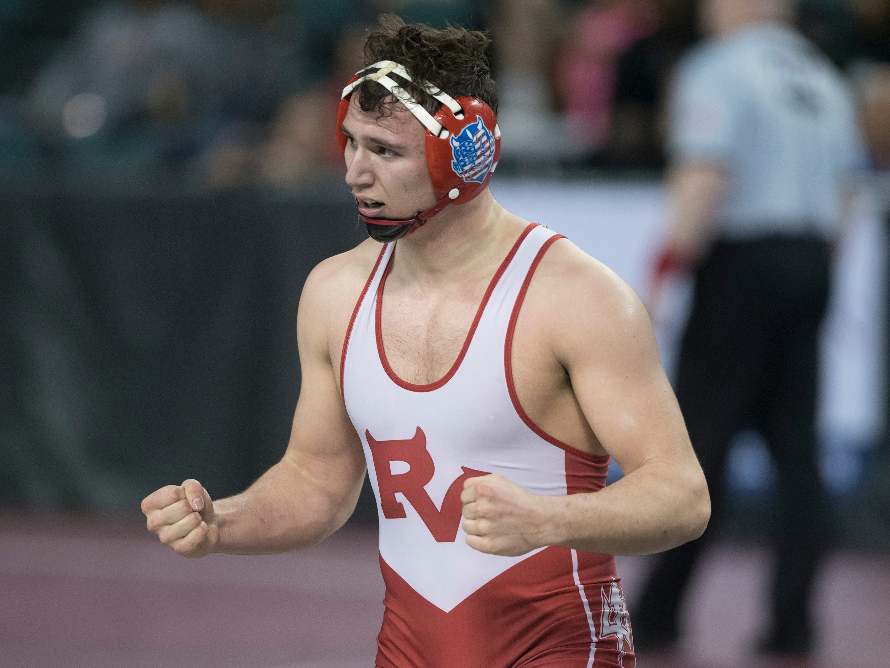 Rancocas Valley's Drew Bowker reacts after beating Pitman's Zane Coles, 6-4, in a 195 lb. pre-quarterfinal round bout during the 2019 NJSIAA State Wrestling Championships tournament held at Boardwalk Hall in Atlantic City on Thursday, February 28, 2019.