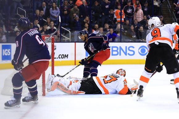 Feb 28, 2019; Columbus, OH, USA; Philadelphia Flyers goaltender Brian Elliott (37) allows the game winning goal by Columbus Blue Jackets defenseman Seth Jones (3) in the overtime period at Nationwide Arena. Mandatory Credit: Aaron Doster-USA TODAY Sports