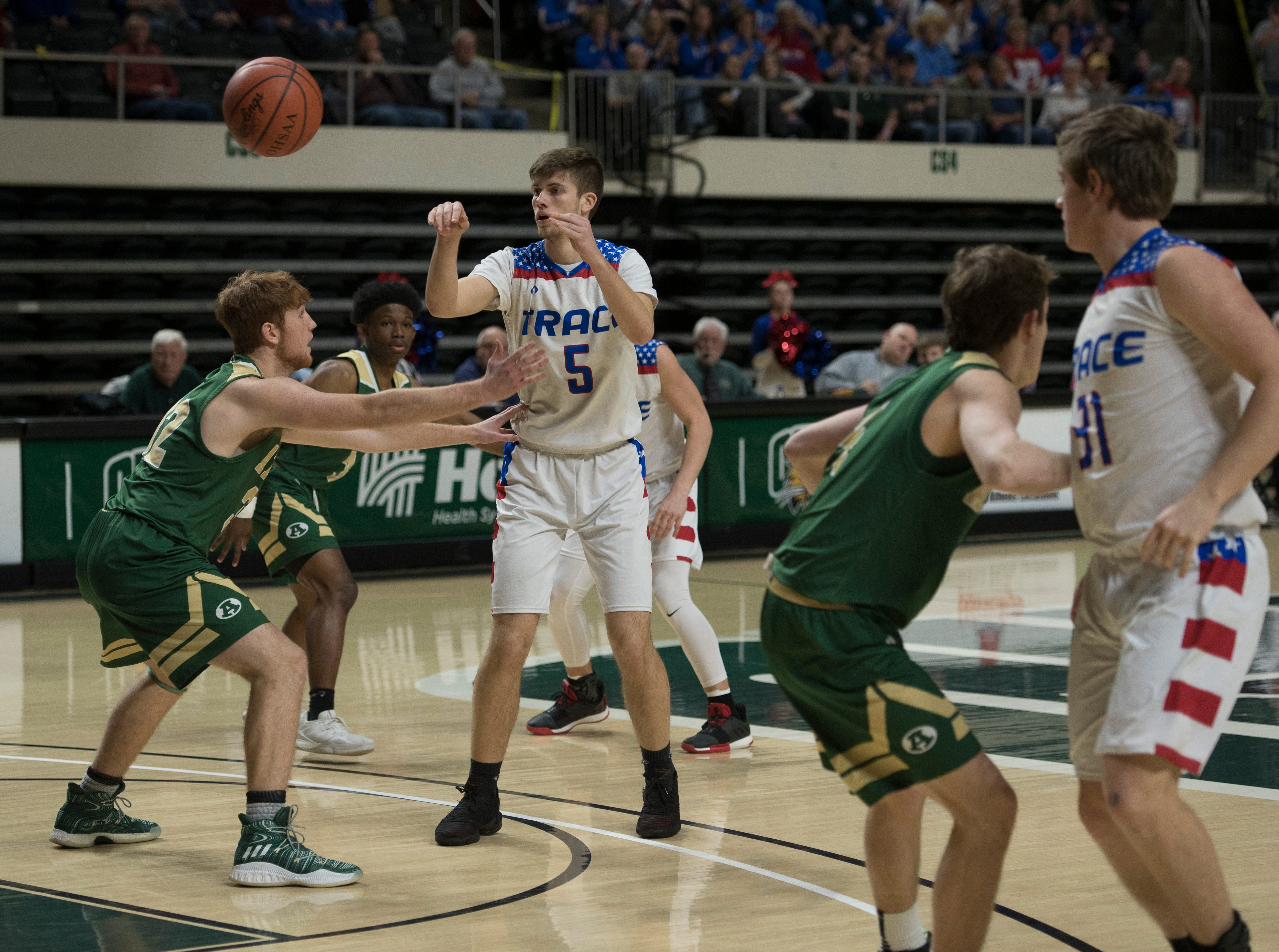 The Zane Trace Pioneers defeated the Athens Bulldogs 48-28 Thursday night in a Division II district semifinal game at Ohio University's Convocation Center in Athens, Ohio, on Feb. 28, 2019. Zane Trace will return for a Division II district final against Fairfield Union 50-39 in Athens on March 10, 2019.