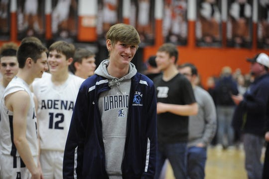 Jarrett Garrison celebrates after sectional final game. Adena High School basketball went 6-16 during the 2017-18 season but this year they have completely turned it around as they are in a district semi.