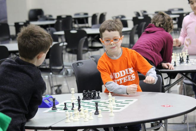 Third grade Maddux student Elias Rechel contemplates his next move.