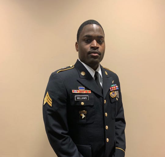Jamal Williams-McCray on the final day of testimony March 1, 2019, at a military court in Fort Campbell, Ky. before being sentenced in the murder of ex-wife, Pfc. Shadow McClaine.