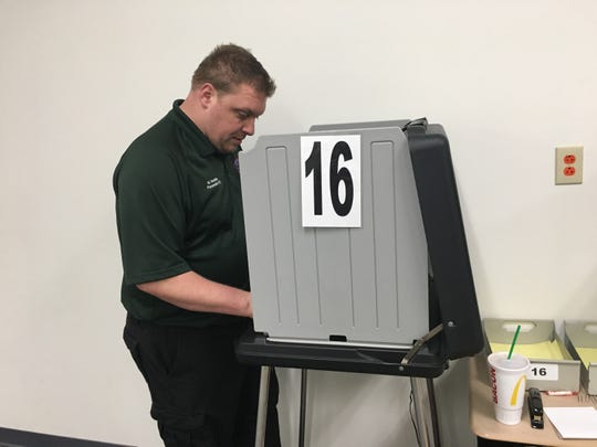 Matt Sandifer, who works in emergency medical services in both Montgomery and Houston counties, votes Friday at the Montgomery County Election Commission.