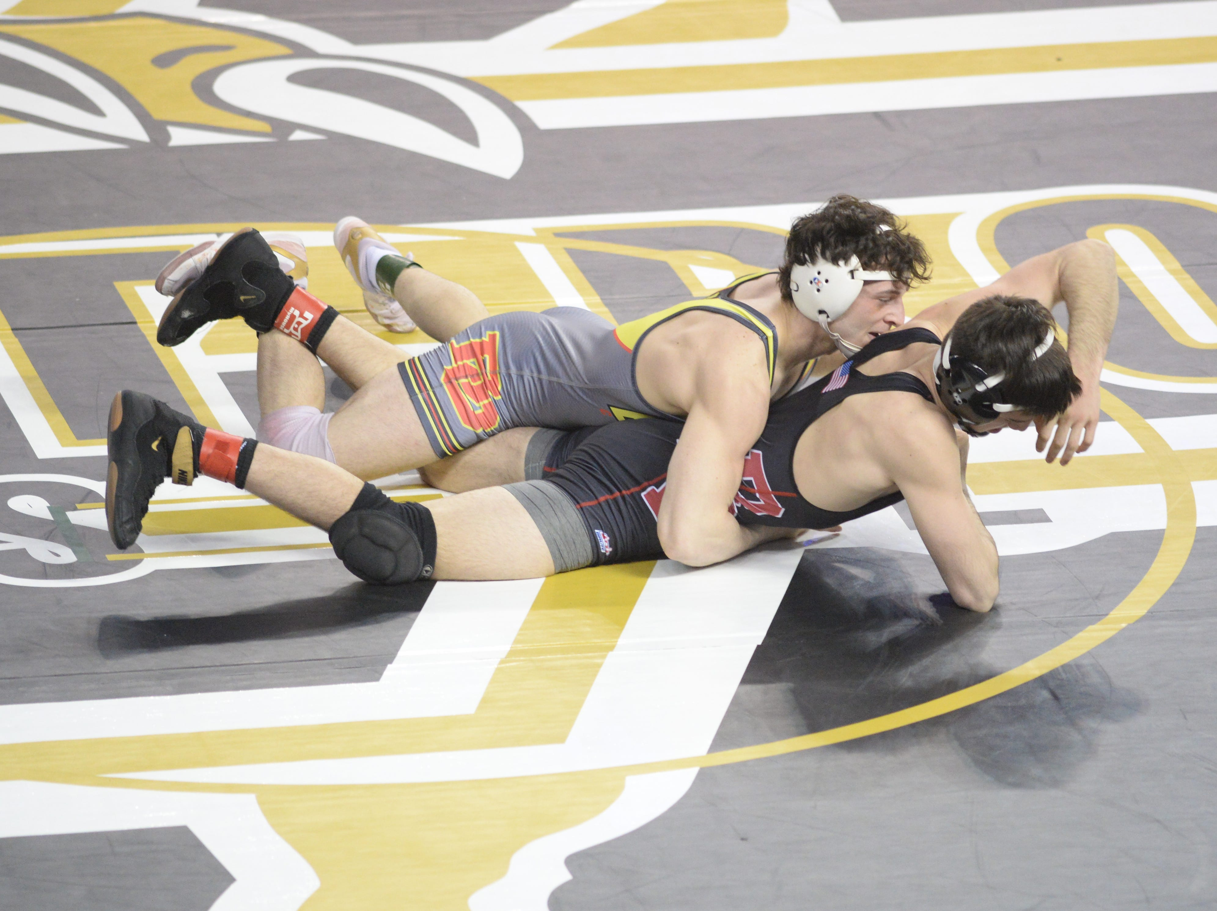 Bridgewater/Raritan's Matt Sacco wrestles Bergen Catholic's Wade Unger  in a 145-pound quarterfinal bout during the NJSIAA Individual Wrestling Championships at Boardwalk Hall in Atlantic City, Friday, March 1, 2019.