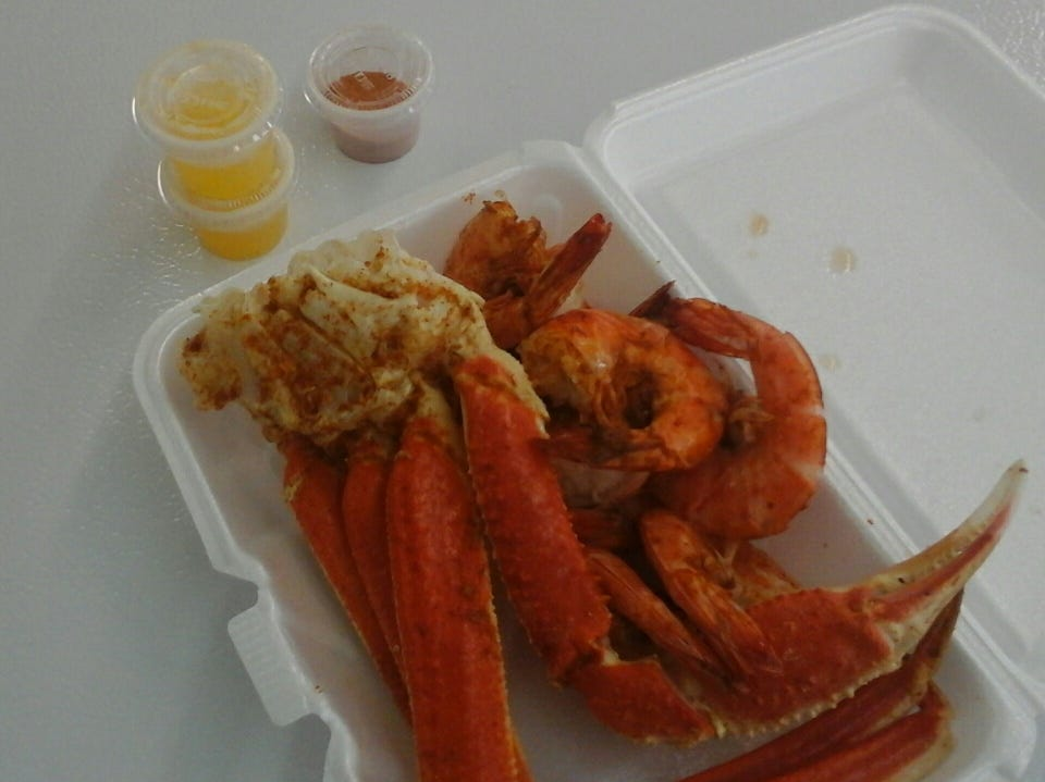 Crab legs from Fresh Fish Market in Rahway.