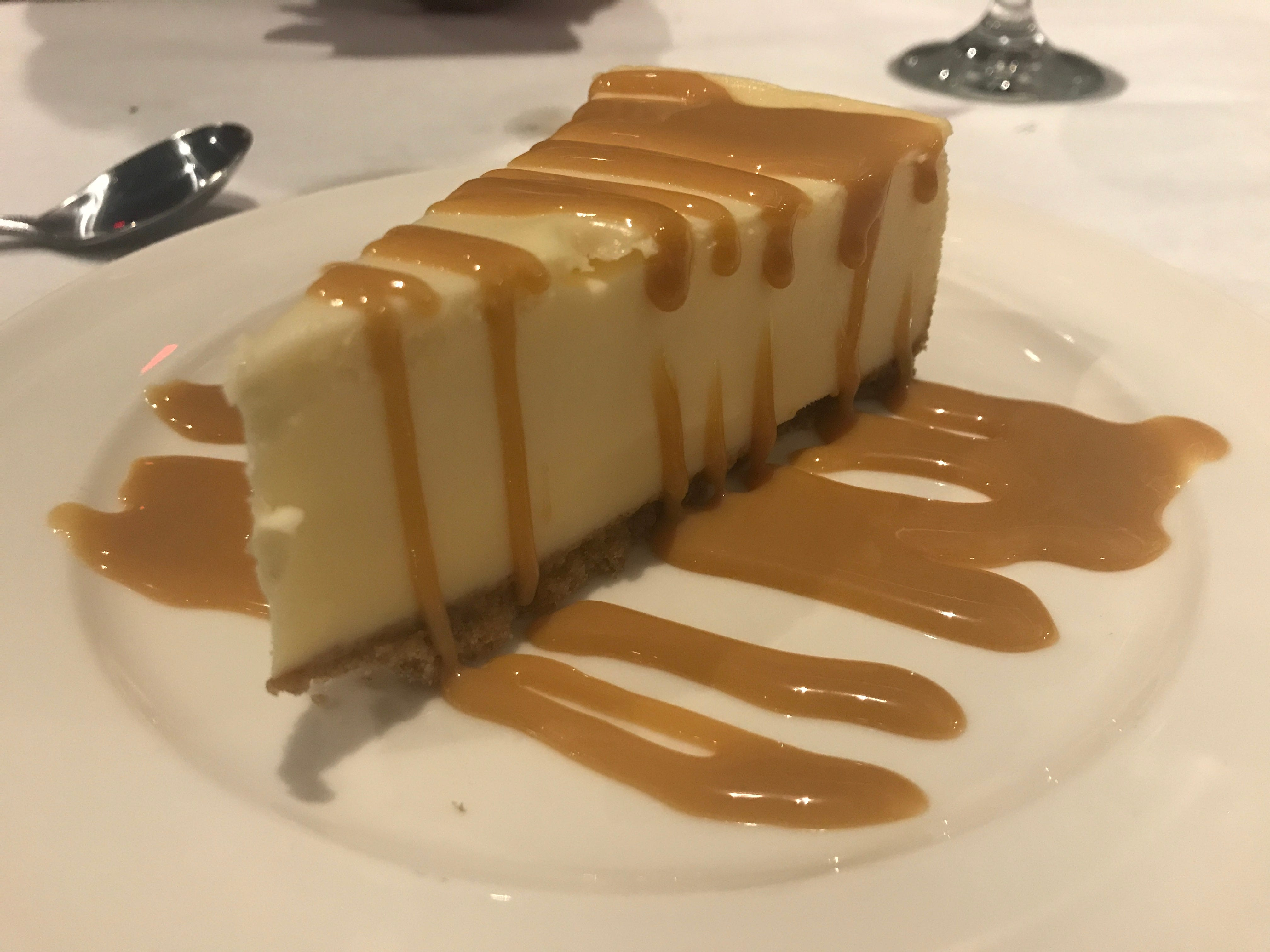 Be sure to save room for cheesecake with dulce de leche sauce.