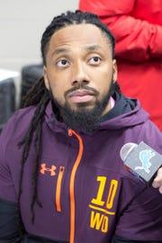 Felton Davis III speaks to media at the NFL combine Friday.