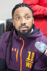 Felton Davis III speaks to media at the NFL combine Friday.