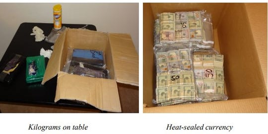 Photos of drugs and $500,000 in cash that were seized in the nation's third largest fentanyl bust at a Novi condo in 2017. Prosecutors said agents seized enough fentanyl to kill five million people.