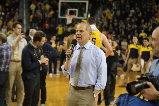 Michigan coach John Beilein talks to fans after the 82-53 win against Nebraska, Thursday, Feb. 28, 2019 at Crisler Center in Ann Arbor.