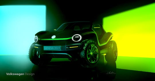 Volkswagen's electric I.D. Buggy concept uses the automaker's new electric vehicle architecture.