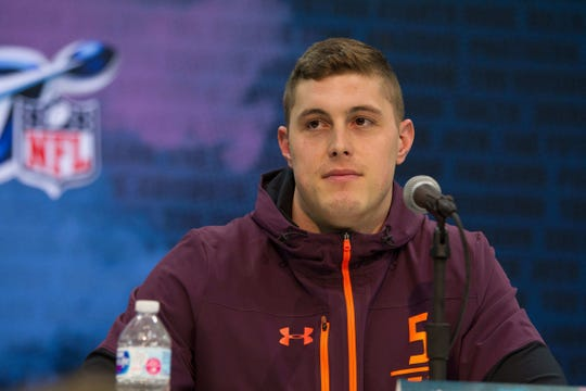 Michigan tight end Zach Gentry speaks to media during the NFL combine at the Indiana Convention Center, March 1, 2019.
