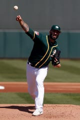 The A's non-tendered Mike Fiers in December after acquiring him from the Tigers in August, then signed him to a two-year deal. Fiers may start Opening Day in Japan for Oakland.