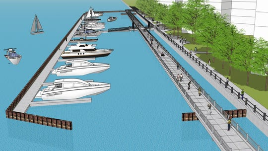 Rendering shows the planned boardwalk crossing in front of the Riverfront apartments west of Joe Louis Arena. Construction should be finished in 2019.
