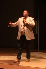 Nate Talbot, 42, executive director of the nonprofit Detroit Blockchain Center, speaks at the Detroit Blockchain & Fintech Pitchfest.