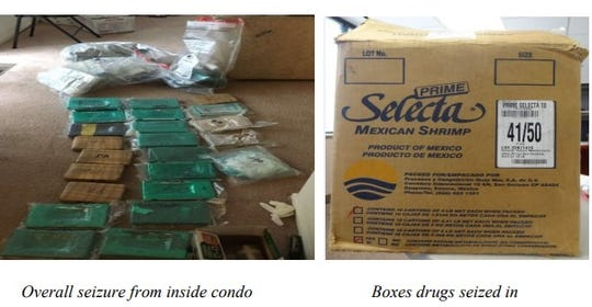 Items seized in nation's 3rd largest fentanyl seizure in 2017, when agents raided a Novi condo and found enough fentanyl to kill five million people and drugs hidden in a Shrimp box.