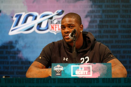 LJ Scott speaks during the NFL combine at the Indianapolis Convention Center, Feb. 28, 2019.