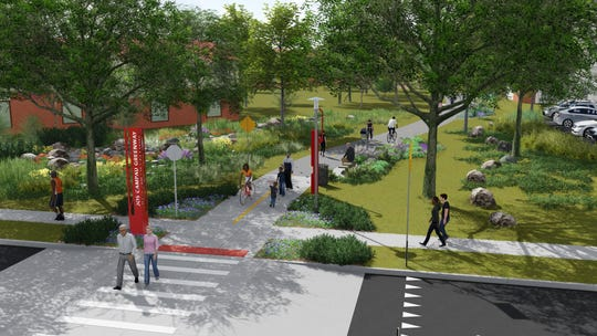Rendering shows the planned Jos Campau Greenway in Detroit.