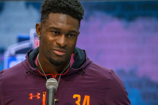 Mississippi receiver D.K. Metcalf speaks to media during the NFL combine at the Indiana Convention Center, March 1, 2019.