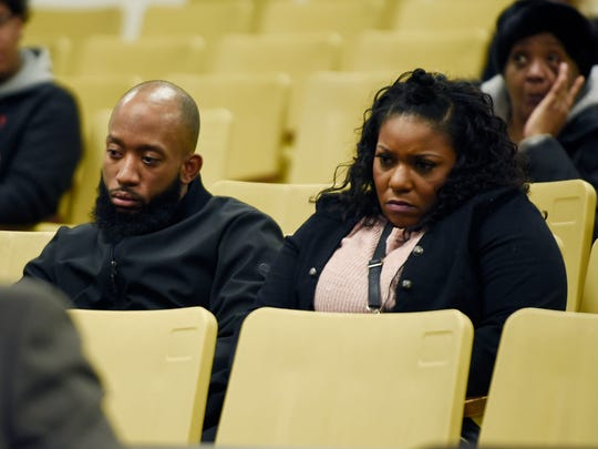 The parents of Tanaya Lewis,18, listen during her preliminary hearing, in which is was determined that the former Warren Fitzgerald High School student will be bound over for trial in the fatal stabbing of her romantic rival.