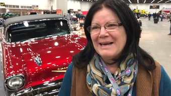 Patty Wiegand and her husband Philip traded a broken potato digger to a neighbor for the 1957 Chevy Belair convertible which they then restored.