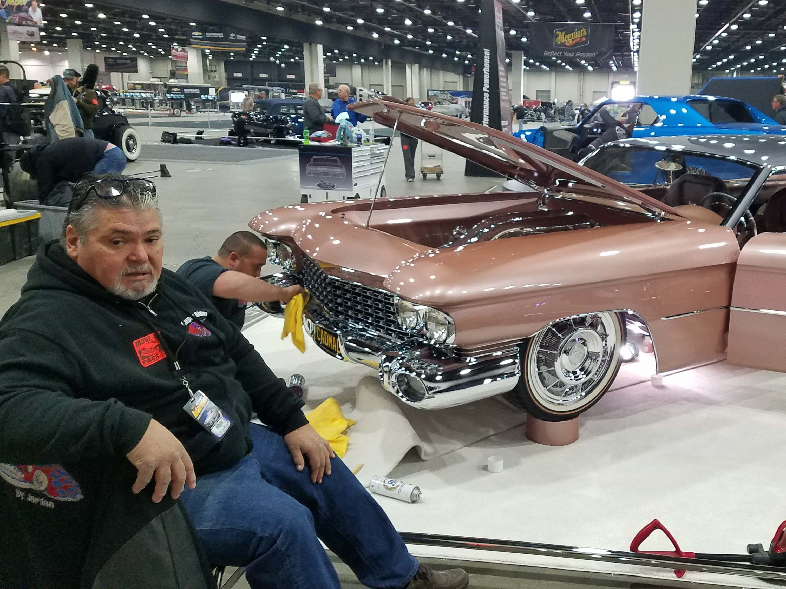 Builder Jordan Quintal (foreground) and his son custom modified this '59 Cadillac El Dorado Brougham for Autorama. It's up for a Ridler Award.