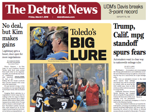 The front page of The Detroit News on Friday, March 1, 2019.
