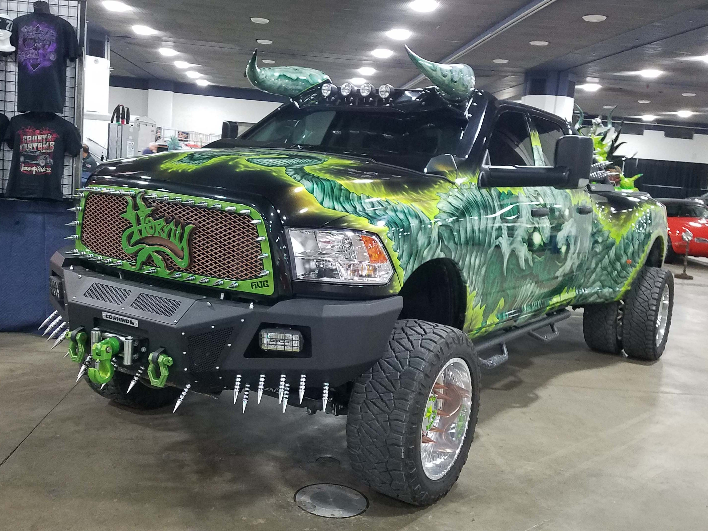 "In the basement, the ""Horny"" Ram Heavy Duty truck from the History Channel's ""Counting Cars"" looks wild - and sells merchandise too."