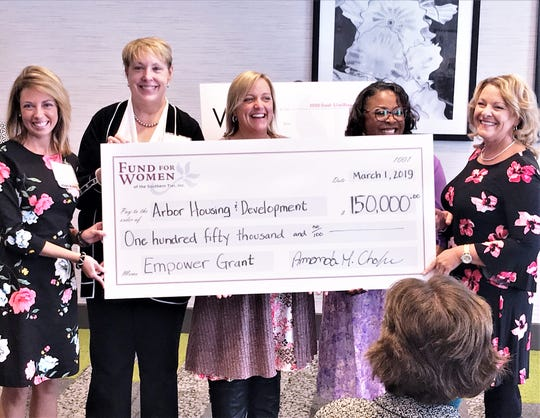 Officials from the Fund for Women of the Southern Tier present a ceremonial check for $150,000 Friday to representatives of Arbor Housing and Development.