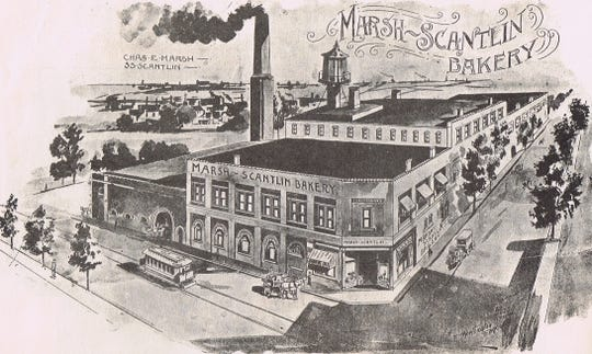 A rendering of what the factor at Northwest Second and Ingle streets looked like decades ago, when it was a bakery.