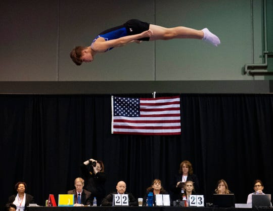 Park Avenue Gymnastics team member Ryan Diez, 14, of Weston, Fla., competes in the trampoline competition at the VIP Classic at the Old National Events Plaza in 2019.