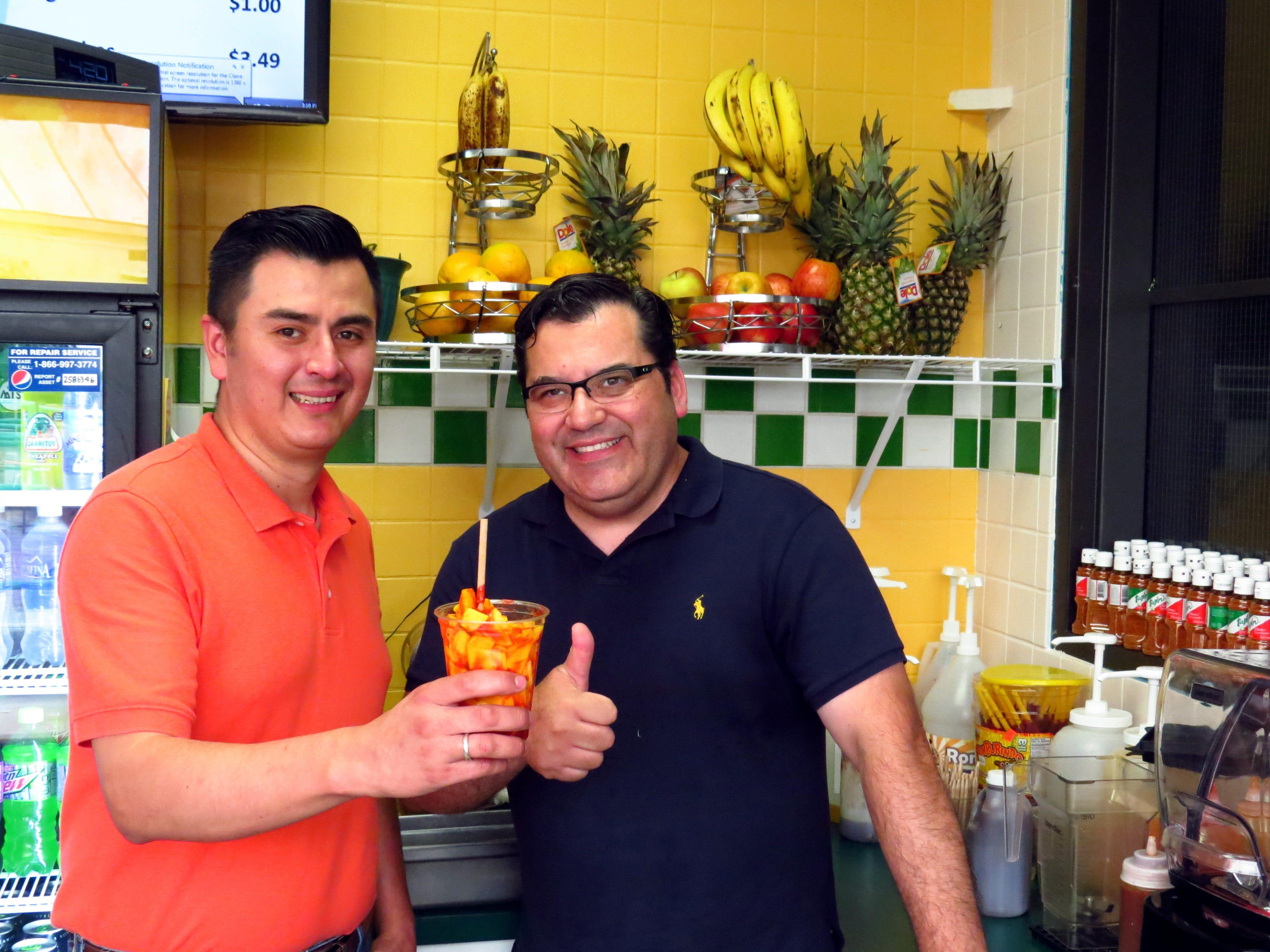 Ezequiel Campos, left, and Abraham Brown at the original La Campirana location in Washington Square Mall.