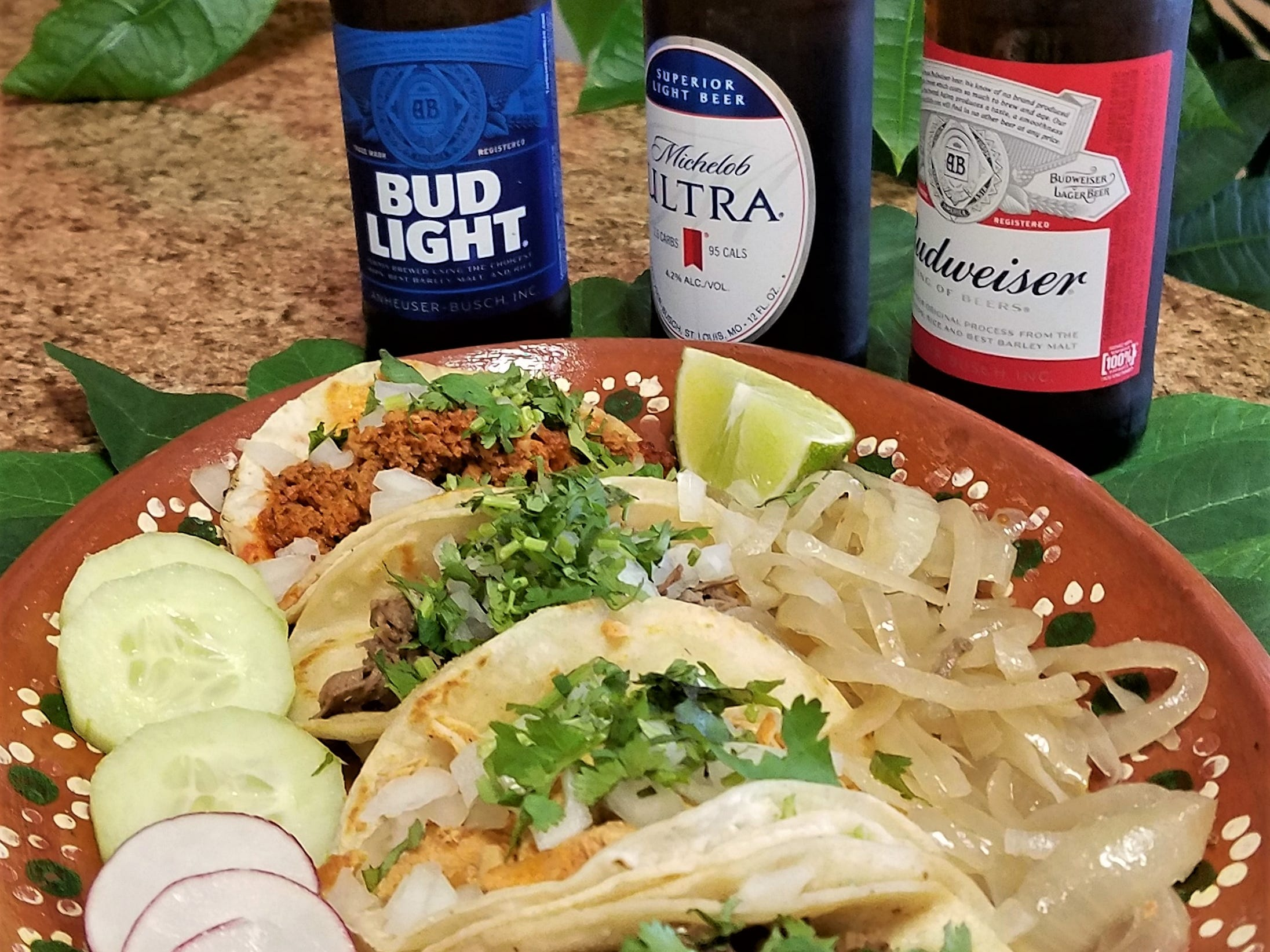 What's better than a platter of authentic street tacos? A platter of street tacos with an ice-cold beer.
