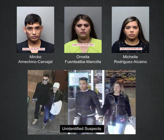 Fort Collins police arrested three people on suspicion of stealing credit cards from people dining in restaurants. They are also looking for two unidentified suspects.