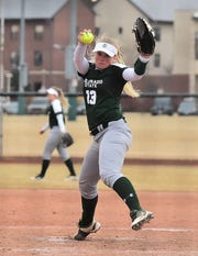 Senior pitcher Bridgette Hutton, the last of three sisters to go through the CSU softball program, delivers a pitch while throwing a five-inning no-hitter Feb. 28, 2019, in a win over visiting Idaho State. Bridgette Hutton is one of four seniors on CSU's team, ranked No. 25 in the nation, who will be playing their final home games this weekend when the Rams host San Diego State.