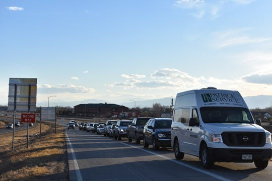 Vehicles back up on the northbound off ramp of Interstate 25 in Wellington during the Monday evening rush hour