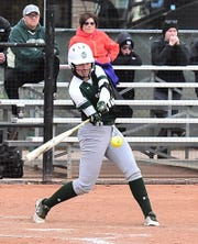 Ashley Ruiz, shown hitting the ball during a Feb. 28 win over Idaho State, and her teammates on the CSU softball team will play their final four home games of the season this week, beginning with a 4 p.m. game Tuesday against Northern Colorado.