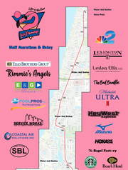 The route for the 2019 Lazy Flamingo Half-Marathon.
