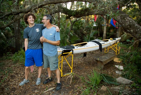 Maxfield Seixas, 19, and his father, Mark Cecil, of Bonita Springs, will paddle their tandem kayak 300 miles from Tampa to Key Largo starting Saturday.