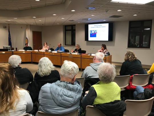 Audience listens to answers from Sturgeon Bay City Council candidates about waterfront development during forum sponsored by the Door County League of Women Voters Thursday, Feb. 28, 2019.