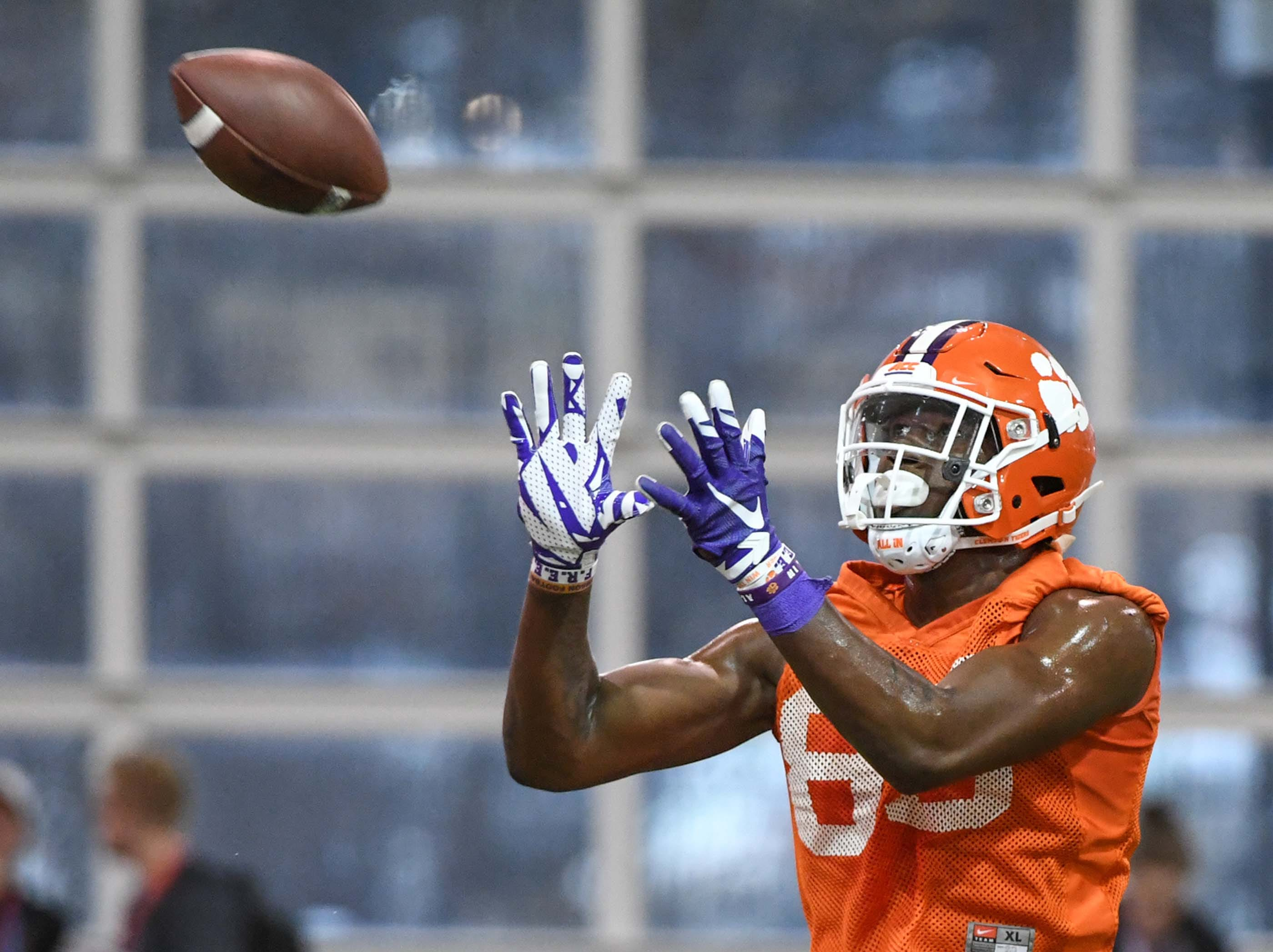 Clemson tight end Jaelyn Lay (85) catches a ball during practice at the Poe Indoor Facility in Clemson Friday.