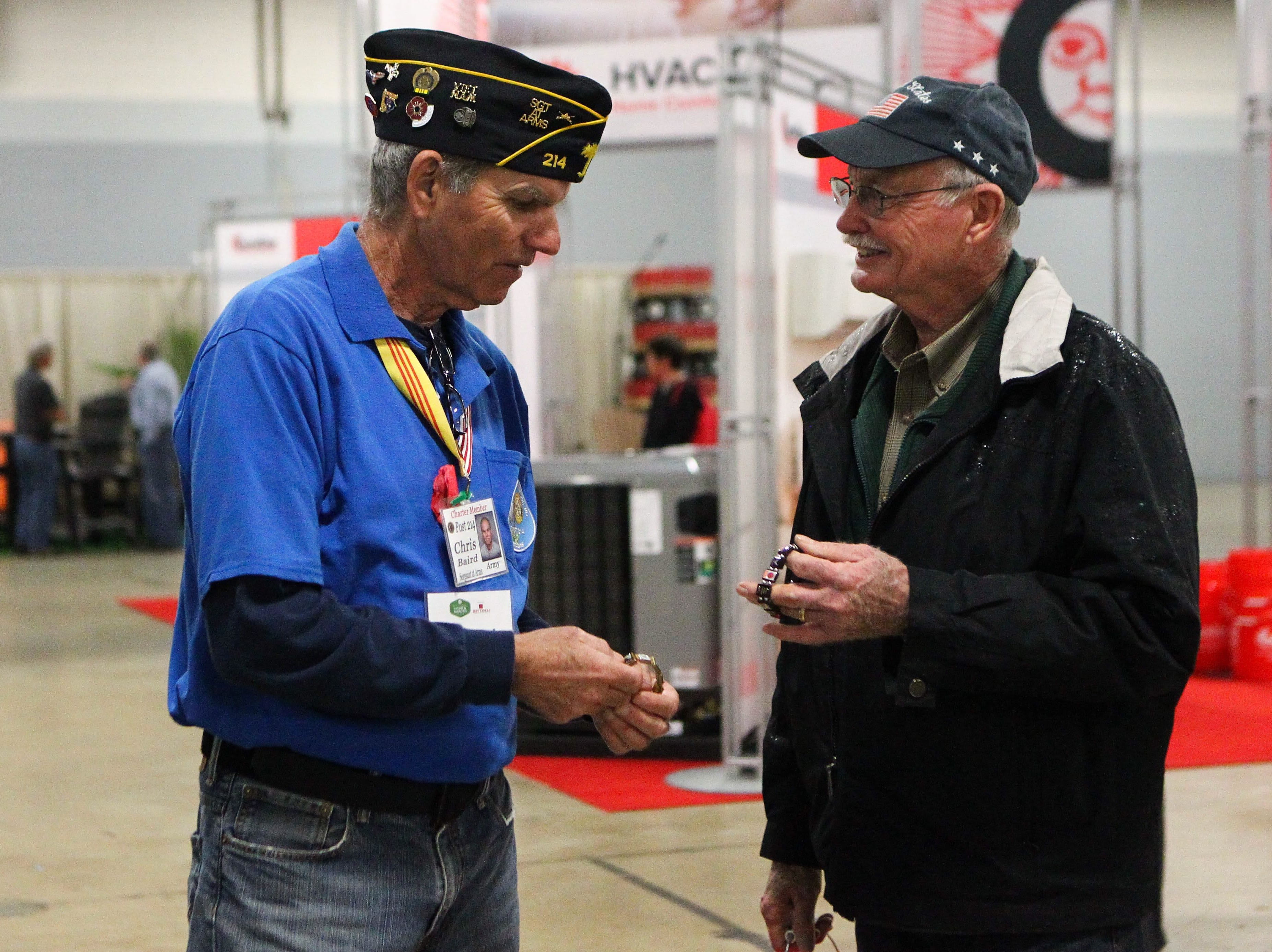 Veteran Chris Baird shows a bracelet at the Southern Home and Garden Show at the Greenville Convention Center on Friday, March 1, 2019.