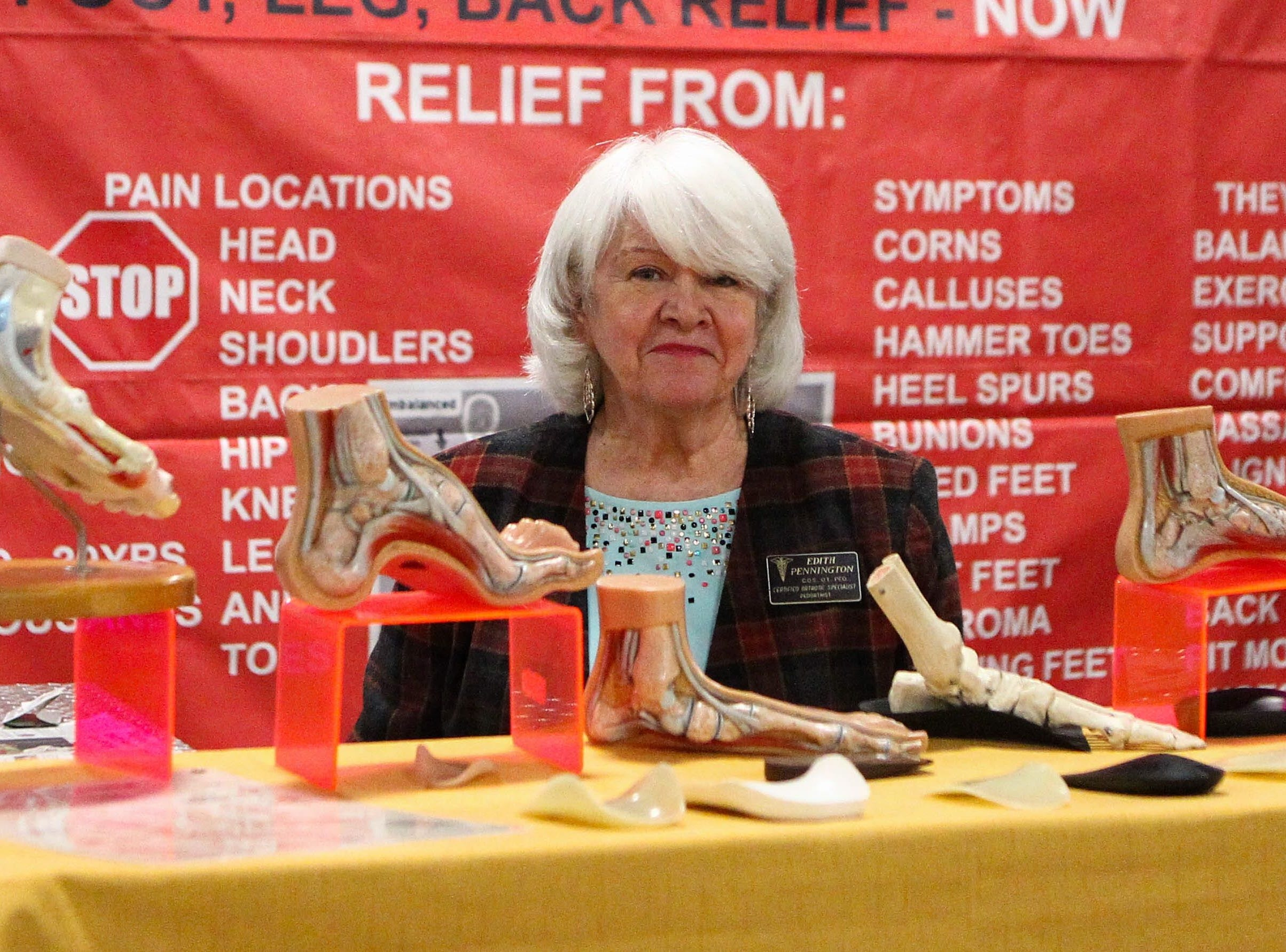 Edith Pennington poses at her booth, Correct-A-Step Custom Orthotics, at the Southern Home and Garden Show at the Greenville Convention Center on Friday, March 1, 2019.
